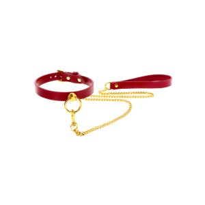 O-Ring Collar and Chain Leash Red
