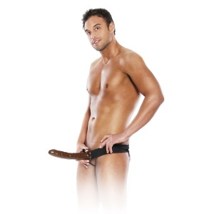 10 Inch Hollow Strap-On Black