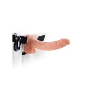 9 inch Vibrating Hollow Strap-On Light skin tone