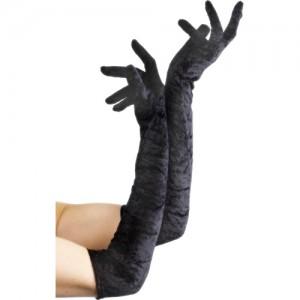 Lange Handschoenen Fluweel - Zwart
