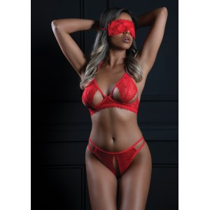 3PC Bra, Panty and Blindfold Red