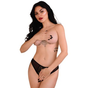 Angel naughty crotchless panty Black