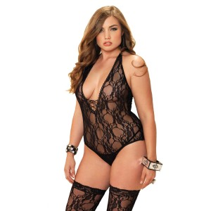 2pcs Floral Teddy and Stocking Black