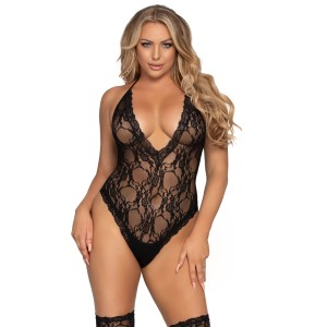 Lace Deep-V Teddy and Stockings Black