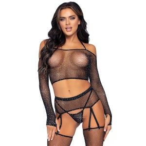 4Pc bra set with garterbelt Black