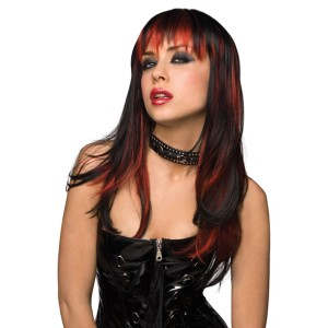 Pruik Courtney - Zwart met Rood