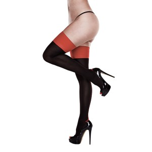 Baci - Black Opaque Red Cuban Heel Thigh Highs Queen Size