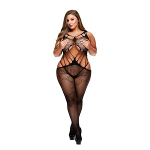 Baci - Criss Cross Crotchless Bodystocking Queen Size
